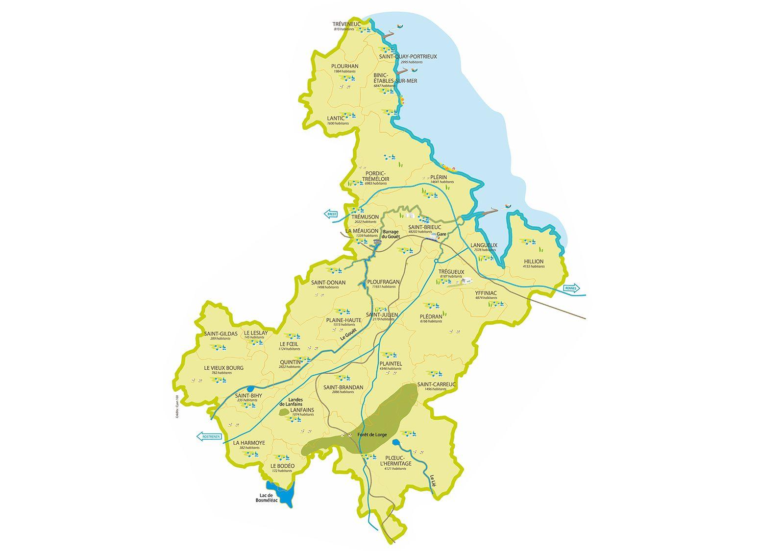 Arrondissement de Saint-Brieuc - Wikimonde  |Saint Brieuc Carte
